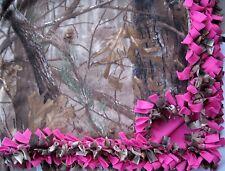 Custom Fleece Tie-Blanket Realtree Camouflage Hot Pink 60X72 - 2 layers