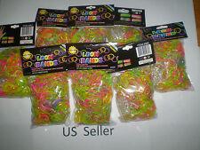 3600 Pcs GLOW IN DARK Rainbow Rubber Loom Bands Bracelet & 96 S Clips US Seller