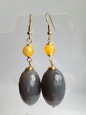 Grey & yellow agate & gold plated earrings