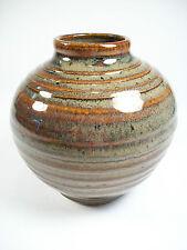 Vintage Glazed Stoneware Studio Pottery Vase - Signed - Late 20th Century