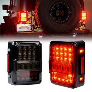 Xprite Smoked LED Tail Lights Rear Reverse Brake Lamp for 07-18 Jeep Wrangler JK
