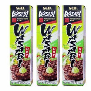 3 PACK of S&B Foods Sushi Sashimi WASABI Paste In Tube Gluten Free Made in Japan