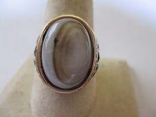 Islamic Style Sterling Silver Tiger's eye Men's Ring 925 oval cut 18x15mm sz10.5