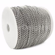 Curb Chain Spool - 330 Feet - Antique Silver (Platinum) - 3x5mm Link - Bulk Roll
