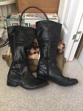 Women SIMPLY VERA WANG Wide Calf Tall Riding Boots Knee High BLACK 7.5 Flat Heel