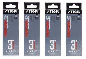 Table Tennis Balls: Stiga 3 Star Perform Plastic White x 12 Pack ITTF Approved