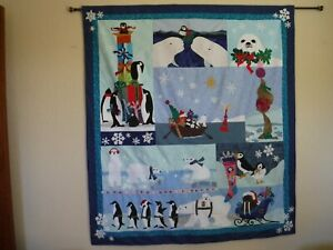 Once Upon a Star Christmas Penguins McKenna Ryan Applique Quilt Wall hanging