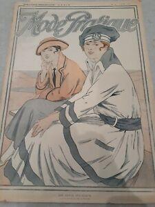 Vtg 1916 french mag w 2 bathing suit costume patterns sheet & more MODE PRATIQUE