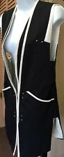 Elisabetta Franchi Open Vest Blazer Jacket Dress Silk Navy Blue & White Medium