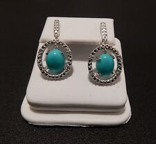 4.79ct Genuine Sleeping Beauty Turquoise Sterling Silver Dangle Halo  Earrings