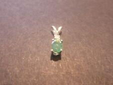Genuine Colombian Emerald & Diamond 6x4mm 0.38ct Sterling Silver Pendant
