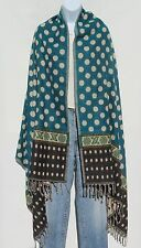 Yak Wool Shawl/Throw-Handloomed in Nepal-Polka Dot Design-Reversible-Turquoise