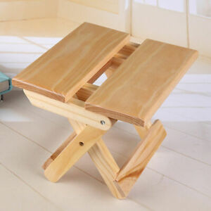 New Foldable Stool Wooden Bar Seat Chair Garden Bench 2 Step Pine Wood Home