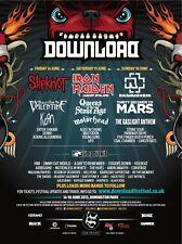 DOWNLOAD FESTIVAL 2013 U.K. CONCERT POSTER - Slipknot,Iron Maiden,Rammstein,Korn