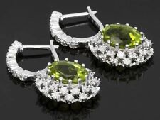 4.00ctw Manchurian Peridot With 1.42ctw Round White Zircon Sterling Earrings