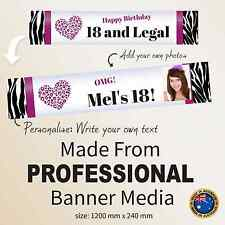 18th Birthday Personalised Zebra Striped Canvas Fabric Party Banner Decorations