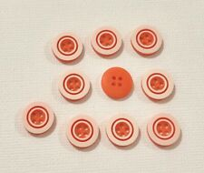 10 Orange and White Buttons 12mm L0083 AUSSIE SELLER