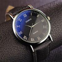 Fashion Mens Luxury Leather Watch Stainless Steel Quartz Analog Wristwatch
