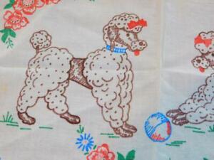 5 Piece Lot Vintage POODLE DOG Liquid Embroidery VANITY SET Doilies Dresser
