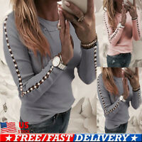 Women Ladies Beading Long Sleeve T Shirt Tunic Tops Blouse Casual Tee Pullover