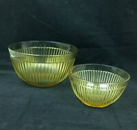 Two (2) Amber Gold Depression Glass Mixing Bowls Ribbed w/Smooth Rim