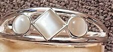 With 3 White Stones Silver Coated Cuff Bracelet