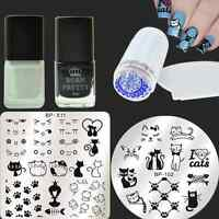 6Pcs/Set Cat Nail Art Stamp Plates Stamping Polish W/Stamper & Scraper Kit DIY