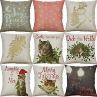 "18"" Cotton Linen Printing Christmas Cat Home Decor pillow case Cushion Cover"