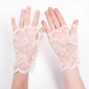 Summer Women 2 Pair Thin Half Finger Lace Gloves Driving Outdoor Sun Protection