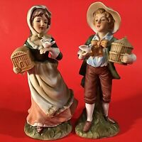 """VINTAGE LEFTON BOY & GIRL FIGURINES HAND PAINTED DOVES & CAGES 7 3/4""""H COLONIAL"""