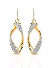 9ct Gold Twisted Moondust Drop Earrings.