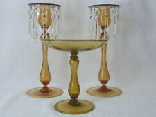HP Sinclaire & Company 3 Pcs Amber 2 Candlesticks Prisms & Footed Dish # 12900