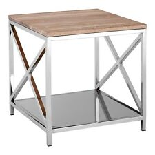 Chiswick wooden/metal/stainless steel side lamp table