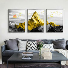 Golden Mountain Abstract Canvas Poster Nordic Wall Art Landscape Print Picture