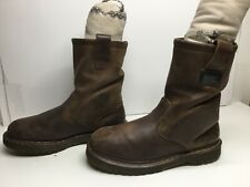 VTG UNISEX DR. MARTENS INDUSTRIAL   WORK LEATHER BROWN BOOTS SIZE M: 10 L:11