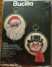 Bucilla Counted Cross Stitch Christmas Santa & Snowman Ornaments Kit Vintage