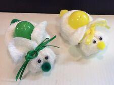 Handmade Boo Boo Bunny / Fillable Plastic Egg Washcloth Rabbits Pair (2)