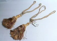 Pair of Large Petra Tassel Curtain Tie Backs Gold/Cream/Red Mix (Oyster) #12D646
