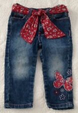 Pumpkin Patch Baby Girl Blue Denim Embroidered Jeans Size 12-18 Months