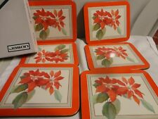 "Set of 6 Poinsettia Coasters with Cork Backed by Jason 4.5"" X 3.75"" New Zealand"