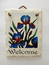 Hand Painted Welcome Sign on Slate Spring Summer Iris Flowers Leather Hanger