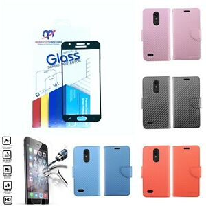 LG K30 Premium Faux Carbon Fiber Wallet Flip Cover or Combo with Tempered Glass