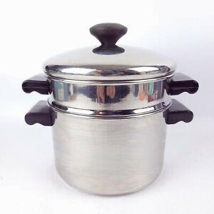 Faberware 3 QT Stainless Steel  Stock Pot Steamer Strainer Disk Bottom