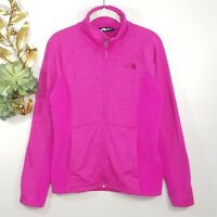 North Face Pink Two-toned Fleece Jacket Size M Zip Front 2 Front Pockets