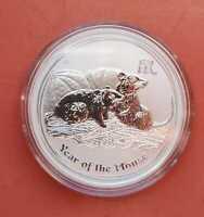 Silbermünze Year of the Mouse Maus 1 Dollar Australien, 2008, 1oz 999/ Geschenk