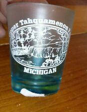 Vintage Upper Tahquamenon Falls Michigan Souvenir Shot Glass Two-Tone Frosted