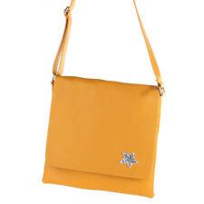 Cross Messenger Bag Umhänge Schulter Tasche Leder Gelb Stern Magnet Brosche NEU
