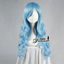 70CM Lolita Light Blue Long Curly Party Women Hair Cosplay Wig Heat Resistant