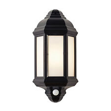 Endon Halbury PIR outdoor wall light IP44 60W Matt black textured & frosted pc