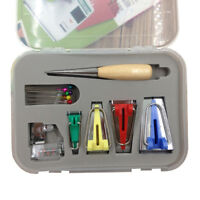 EE_ AM_ 16 PCS BIAS TAPE MAKER KIT SET FOR SEWING QUILTING AWL BINDER FOOT CASE